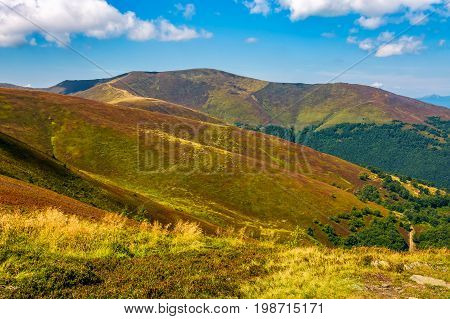 Beautiful Carpathian Mountain Range With Cloudy Sky