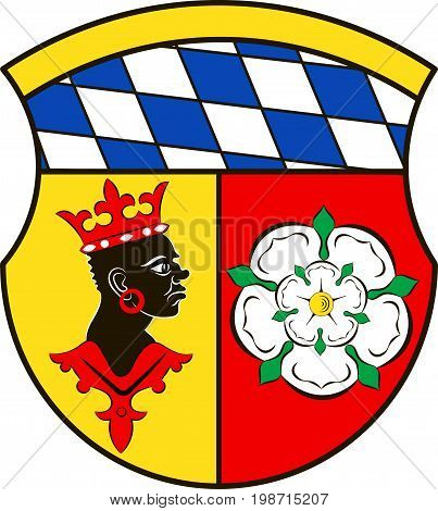 Coat of arms of Freising is a district in Upper Bavaria of Germany. Vector illustration from the