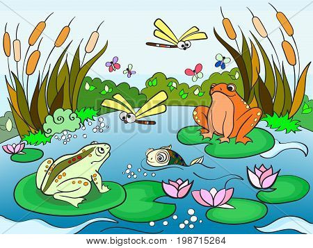 Wetland landscape with animals book for adults vector illustration. Anti-stress for adult. Black and white lines insect, frog, cane, dragonfly, fish, water lily, water Lace pattern nature