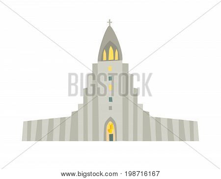 Reykjavik church icon. Nordic schematic cartoon capital. Vector illustration isolated on white background