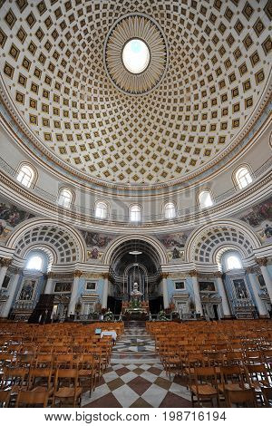 Mosta Dome interior, fourth largest unsupported dome in the world, Malta, Europe