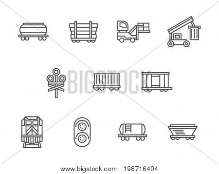 Symbols of railway freight. Cargo transportation, different types of rail cars, railroad traffic elements. Collection of simple black line design vector icons.
