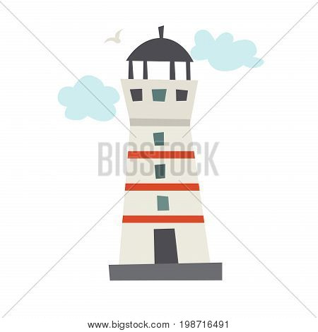 Lighthouse icon. Cartoon Icelandic lighthouse with clouds. Vector illustration isolated on white background
