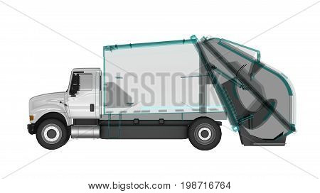 The enlightened body of the garbage truck. 3d rendering