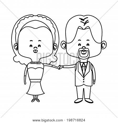 cute couple husband wife in wedding suit happy together vector illustration