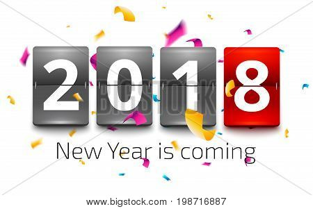 Happy New Year 2018. New year party flip clock counter. Red flip clock with number 2018 on confetti explosion background. New year is coming vector illustration