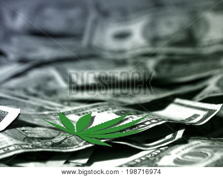 Marijuana leaf on US dollars.   3D rendering