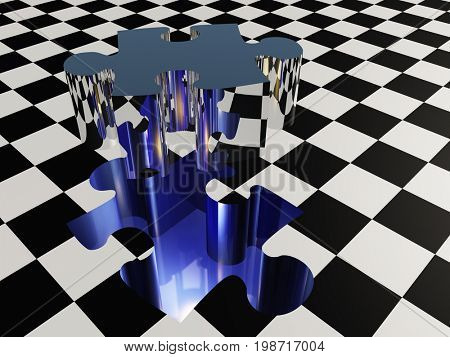 Missing puzzle piece on checkered surface   3D rendering