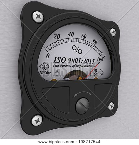 ISO 9001:2015. The percent of implementation. Analog indicator showing the level of ISO 9001:2015 implementation. 3D Illustration. Isolated