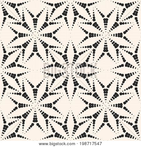 Abstract vector seamless pattern with dotted floral shapes, asters. Subtle geometric background. Stylish monochrome texture, repeat tiles. Illustration of fireworks burst. Design for decor, textile.
