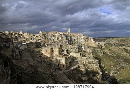 View over the houses and cave dwellings of Matera, Italy