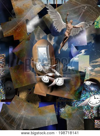 Surrealism. Man's head with opened door to another world. Naked man with wings represents angel. Winged clocks symbolizes flow of time.   3D rendering  Some elements provided courtesy of NASA