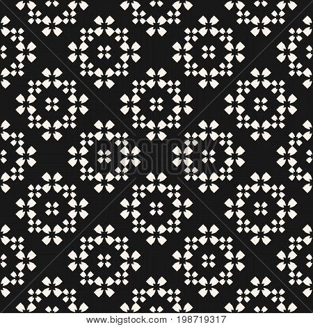 Ornamental pattern. Vector monochrome seamless pattern, floral geometric background with quatrefoil flower silhouettes. Simple dark abstract texture, repeat tiles. Stylish design element for decor, fabric, prints. Design pattern. Carpet pattern.