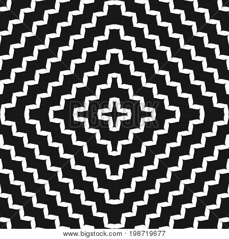 Vector monochrome seamless pattern, geometric ornament texture with concentric zigzag lines in square form. Black & white abstract wavy background, dynamical optical illusion. Zigzag pattern, optical art, visual illusion, design pattern.