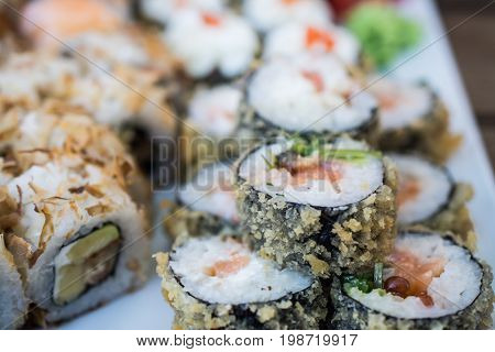 Sushi close up, delicious Japanese food background