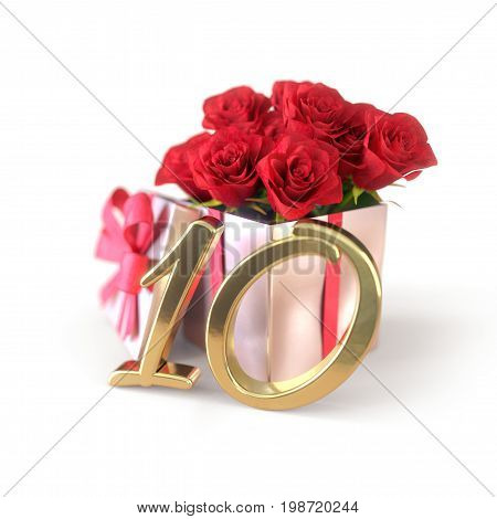 birthday concept with red roses in gift isolated on white background. 3D render - tenth birthday. 10th