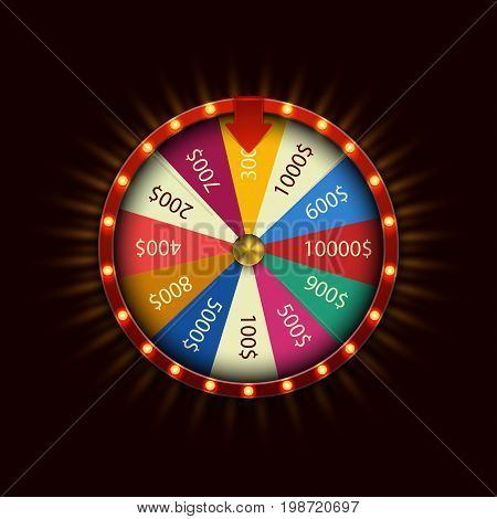 Vector modern fortune wheel on black background.