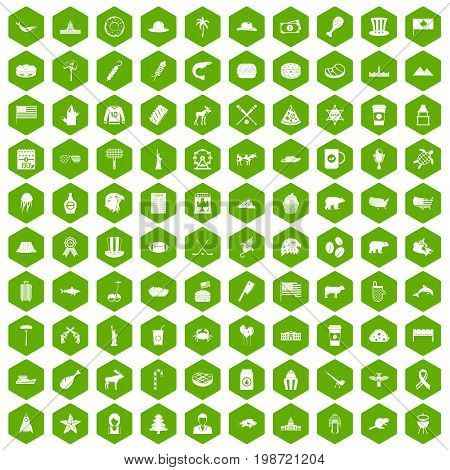 100 North America icons set in green hexagon isolated vector illustration