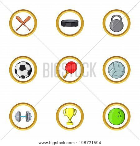 Cool sport icon set. Cartoon set of 9 cool sport vector icons for web isolated on white background