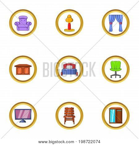 Indoor furniture icon set. Cartoon set of 9 indoor furniture vector icons for web isolated on white background