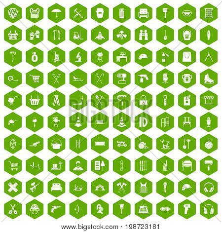100 outfit icons set in green hexagon isolated vector illustration