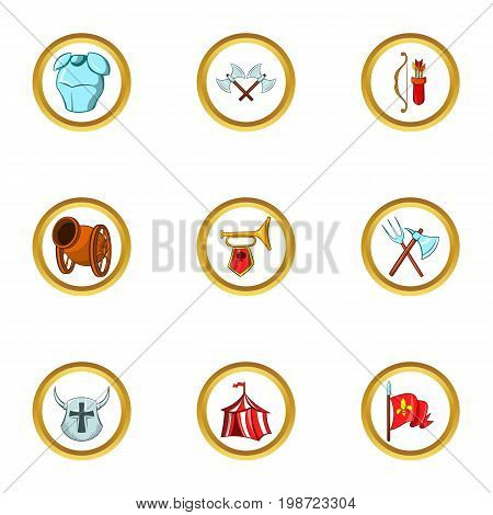Medieval tactic icon set. Cartoon set of 9 medieval tactic vector icons for web isolated on white background