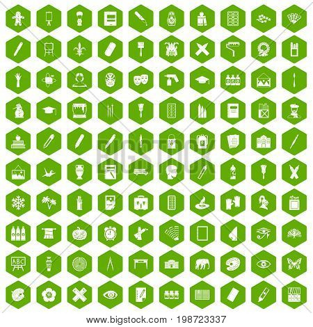 100 paint school icons set in green hexagon isolated vector illustration