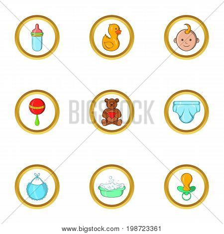 Baby icon set. Cartoon set of 9 baby vector icons for web isolated on white background