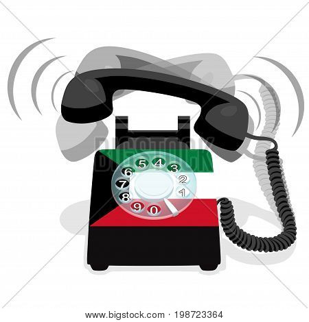 Ringing black stationary phone with rotary dial and with flag of Kuwait
