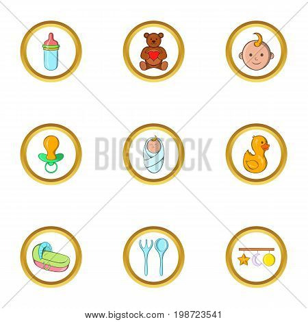 Baby mother icon set. Cartoon set of 9 baby mother vector icons for web isolated on white background