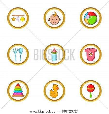 Baby toys icon set. Cartoon set of 9 baby toys vector icons for web isolated on white background