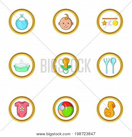 Baby life icon set. Cartoon set of 9 baby life vector icons for web isolated on white background