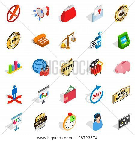 Fiscal icons set. Isometric set of 25 fiscal vector icons for web isolated on white background