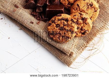 Chocolate Cookies On White Background. Chocolate Chip Cookies Shot
