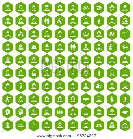 100 people icons set in green hexagon isolated vector illustration