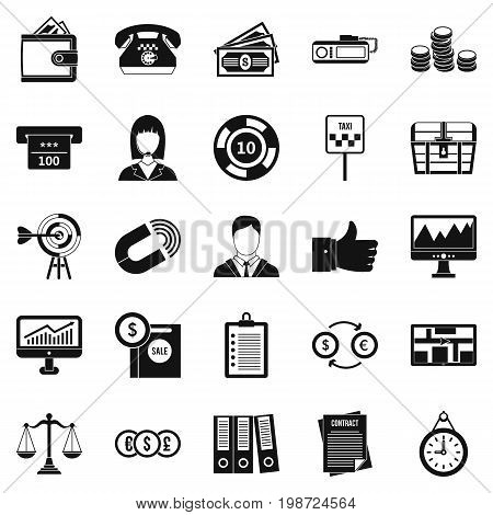 Working quarter icons set. Simple set of 25 working quarter vector icons for web isolated on white background