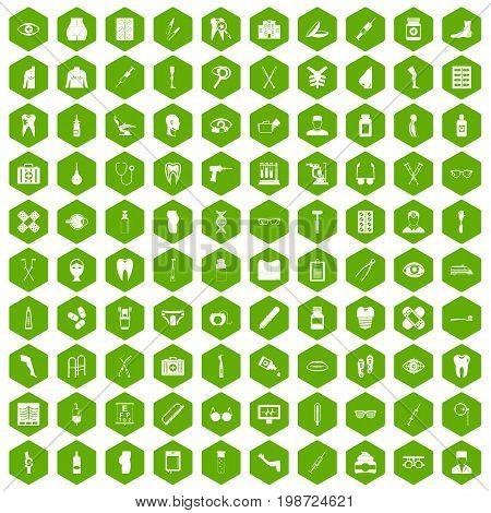 100 pharmacy icons set in green hexagon isolated vector illustration