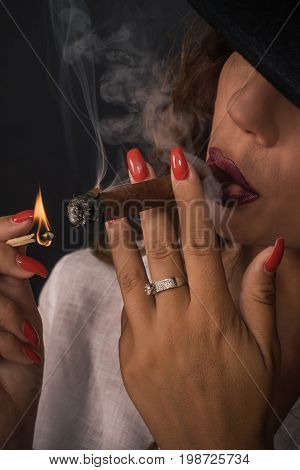 Portrait Of Sexy Elegant Lady Woman With Hat Smoking Cigar