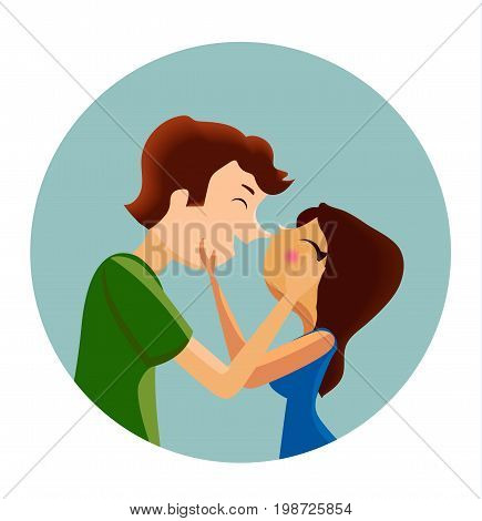 Sweet cartoon couple or family - wife and husband - kissing with love and tenderness, vector illustration, sign, emblem, banner, symbol, icon, Valentine card