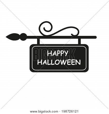 Simple icon of sign board with Happy Halloween lettering. Holiday, party, celebration. Halloween concept. Can be used for greeting card, leaflets, brochure