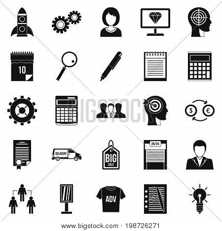 SEO business icons set. Simple set of 25 seo business vector icons for web isolated on white background