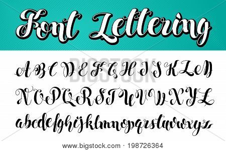 English alphabet. Black and white lettering. ABC Letters Modern Brushed Lettering. Painted Alphabet. Education. Vector Handwritten Brush Script. White Background.