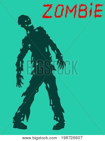 Zombie silhouette in leaky clothes. Vector illustration. Scary character design. The horror genre. Blue color background.