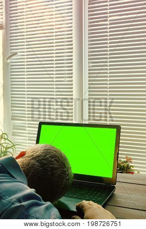Concept Of Overwork. Man In Office Fall Asleep