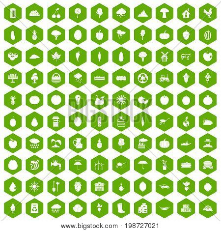 100 productiveness icons set in green hexagon isolated vector illustration