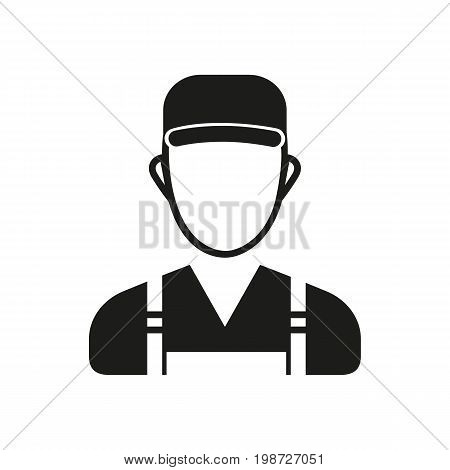 Simple icon of male gardener in uniform. Repairman, serviceman, handyman. Garden concept. Can be used for topics like gardening, maintenance, service