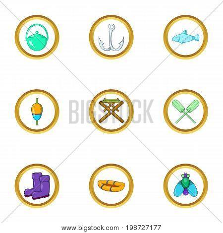 Fishing icon set. Cartoon set of 9 fishing vector icons for web isolated on white background