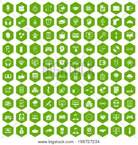100 programmer icons set in green hexagon isolated vector illustration
