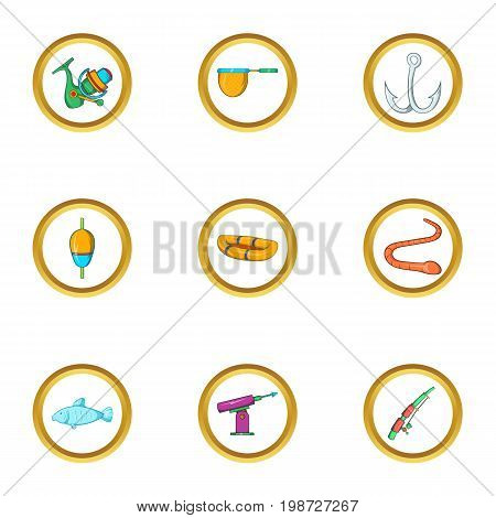 Fishing sport icon set. Cartoon set of 9 fishing sport vector icons for web isolated on white background