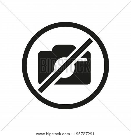 Simple icon of no photo sign. Forbiddance, warning sign, shooting restriction. Photography concept. Can be used for caution signs in public places and museums, information boards and web pictograms